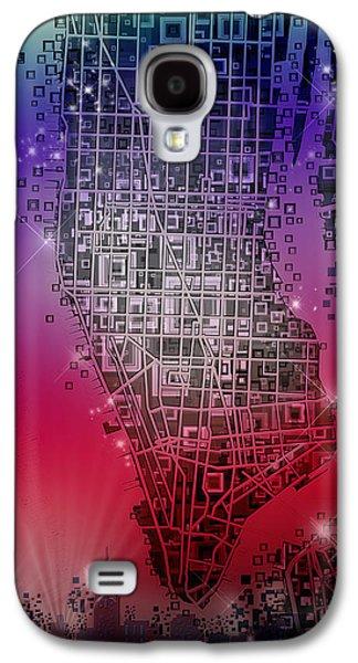 Manhattan Map Abstract 4 Galaxy S4 Case