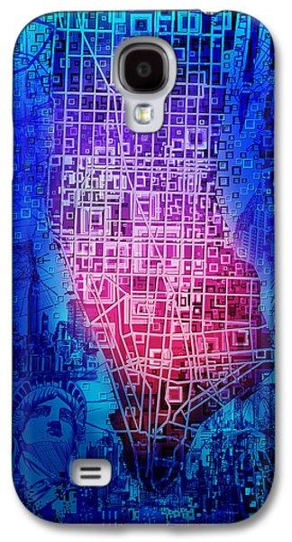 Manhattan Map Abstract 5 Galaxy S4 Case