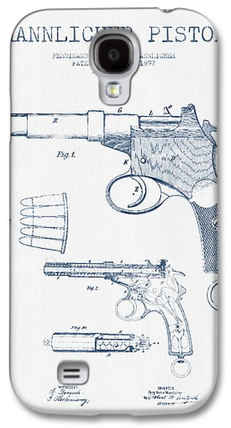 Mannlicher Pistol Patent Drawing From 1897  -  Blue Ink Galaxy S4 Case by Aged Pixel