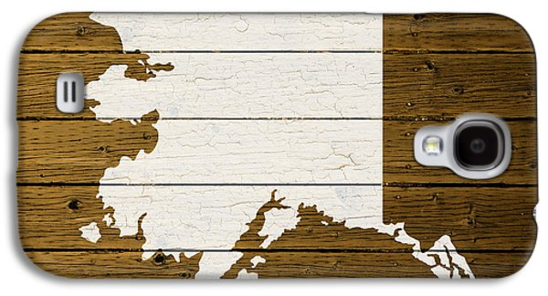 Map Of Alaska State Outline White Distressed Paint On Reclaimed Wood Planks. Galaxy S4 Case by Design Turnpike