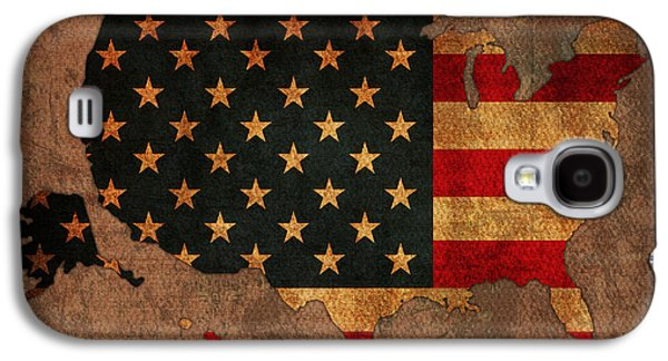 Map Of America United States Usa With Flag Art On Distressed Worn Canvas Galaxy S4 Case