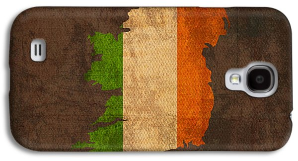 Map Of Ireland With Flag Art On Distressed Worn Canvas Galaxy S4 Case by Design Turnpike