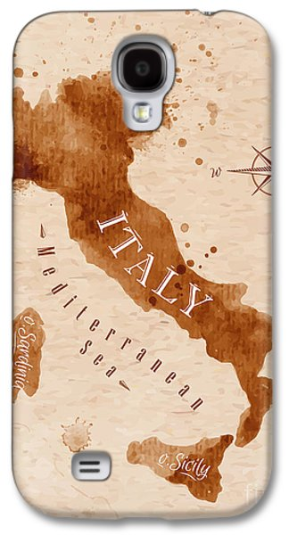 International Travel Galaxy S4 Case - Map Of Italy In Old Style, Brown by Anna42f