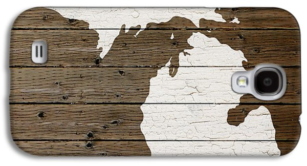 Map Of Michigan State Outline White Distressed Paint On Reclaimed Wood Planks Galaxy S4 Case by Design Turnpike