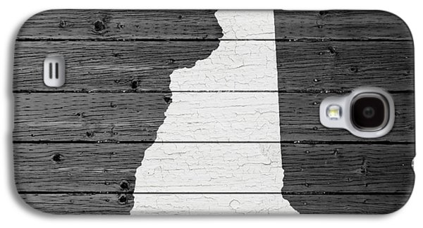 Map Of New Hampshire State Outline White Distressed Paint On Reclaimed Wood Planks Galaxy S4 Case by Design Turnpike