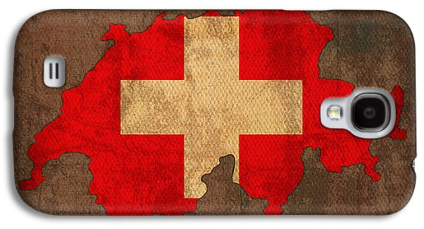 Map Of Switzerland With Flag Art On Distressed Worn Canvas Galaxy S4 Case by Design Turnpike