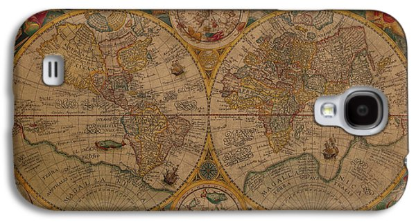 Map Of The World 1599 Vintage Ancient Map On Worn Parchment Galaxy S4 Case