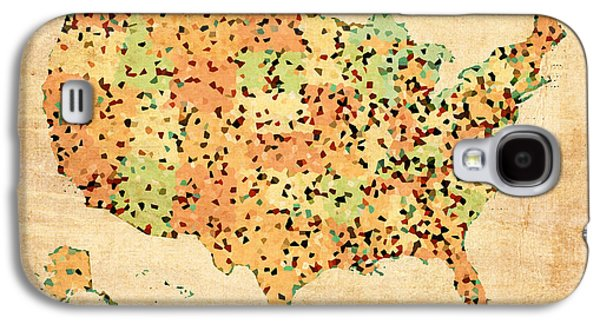 Map Of United States Of America With Crystallized Counties On Worn Parchment Galaxy S4 Case