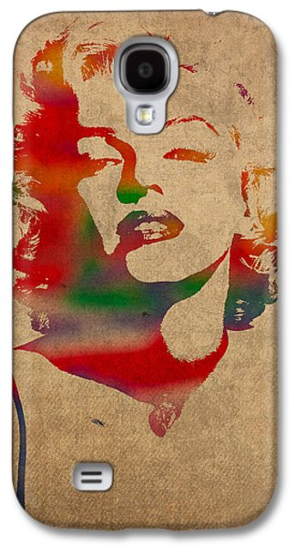 Marilyn Monroe Watercolor Portrait On Worn Distressed Canvas Galaxy S4 Case