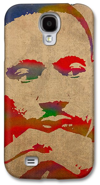 Martin Luther King Jr Watercolor Portrait On Worn Distressed Canvas Galaxy S4 Case