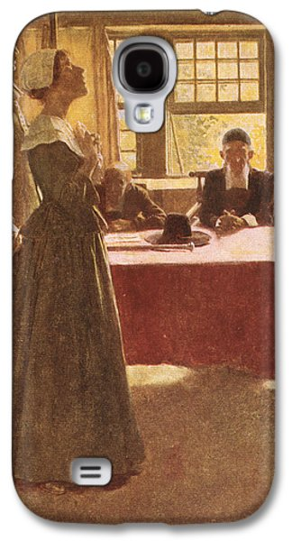 Mary Dyer Brought Before Governor Endicott, Illustration From The Hanging Of Mary Dyer By Basil Galaxy S4 Case by Howard Pyle