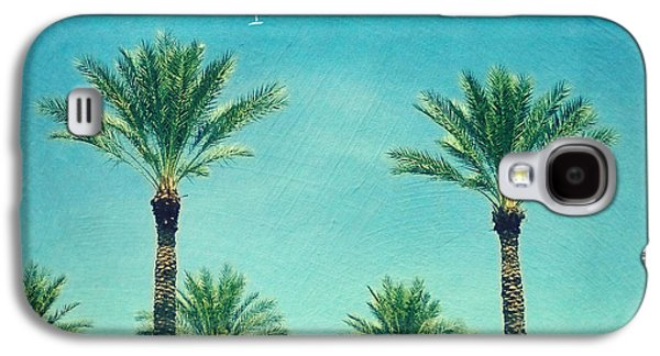 Travel Galaxy S4 Case - Meet Me In Paradise- Palm Trees With Typography by Sylvia Cook