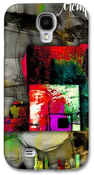 Memphis Map And Skyline Watercolor Galaxy S4 Case by Marvin Blaine