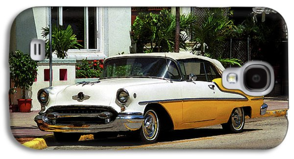 Sunny Mixed Media Galaxy S4 Cases - Miami Beach Classic Car with Watercolor Effect Galaxy S4 Case by Frank Romeo