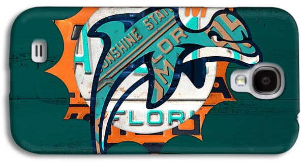 Miami Dolphins Football Team Retro Logo Florida License Plate Art Galaxy S4 Case by Design Turnpike