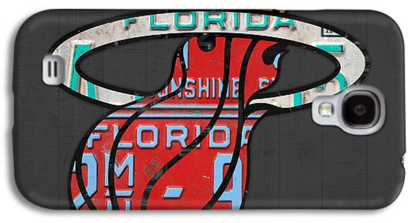 Miami Heat Basketball Team Retro Logo Vintage Recycled Florida License Plate Art Galaxy S4 Case by Design Turnpike