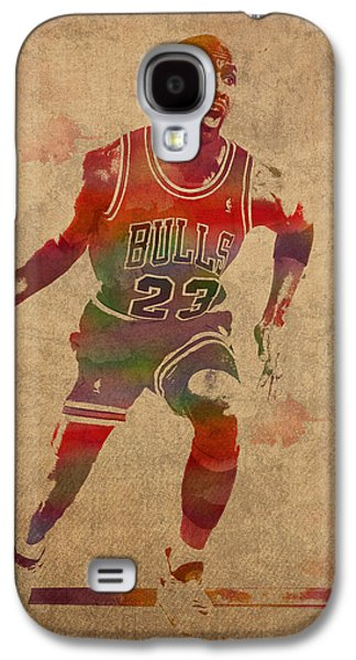 Michael Jordan Chicago Bulls Vintage Basketball Player Watercolor Portrait On Worn Distressed Canvas Galaxy S4 Case by Design Turnpike