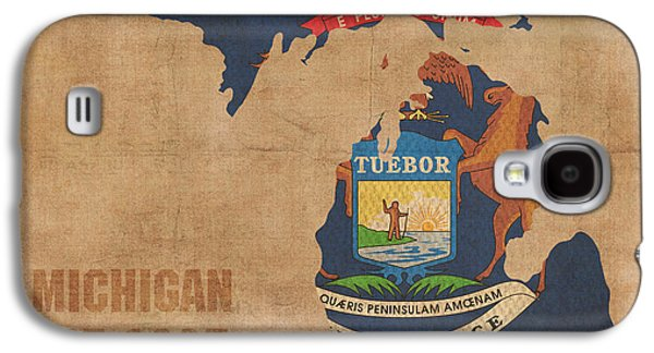 Michigan State Galaxy S4 Case - Michigan State Flag Map Outline With Founding Date On Worn Parchment Background by Design Turnpike