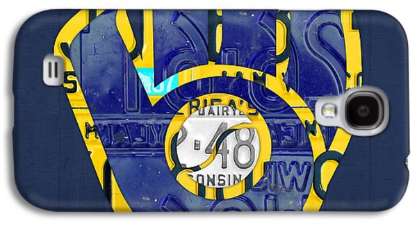 Milwaukee Brewers Vintage Baseball Team Logo Recycled Wisconsin License Plate Art Galaxy S4 Case by Design Turnpike