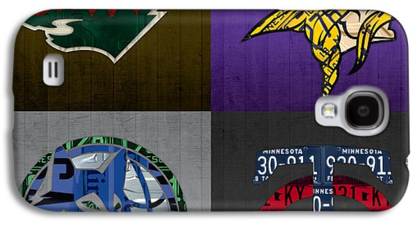 Minneapolis Sports Fan Recycled Vintage Minnesota License Plate Art Wild Vikings Timberwolves Twins Galaxy S4 Case by Design Turnpike