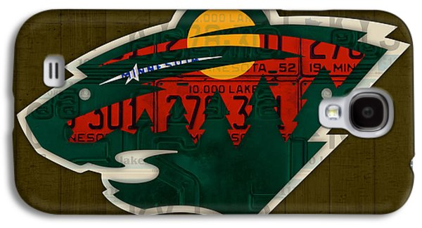 Minnesota Wild Retro Hockey Team Logo Recycled Land Of 10000 Lakes License Plate Art Galaxy S4 Case by Design Turnpike
