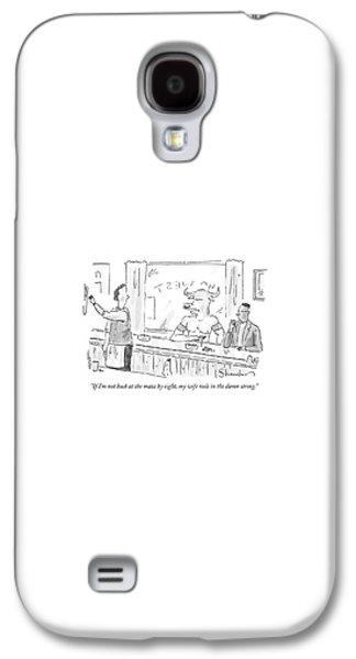 Minotaur Galaxy S4 Case - Minotaur At Bar Talking To Bartender Reaching by Danny Shanahan
