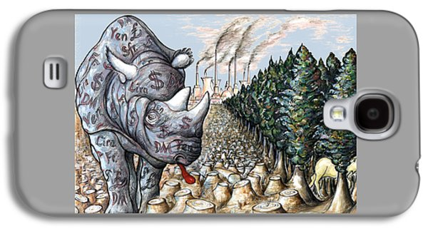 Money Against Nature - Cartoon Art Galaxy S4 Case by Art America Gallery Peter Potter