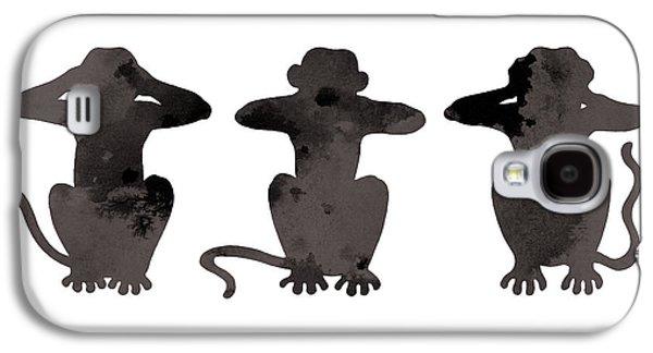 Monkey Galaxy S4 Case - Monkey Painting Watercolor Art Print by Joanna Szmerdt