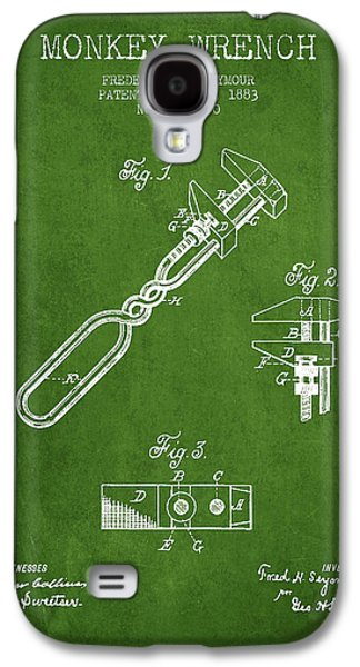 Monkey Wrench Patent Drawing From 1883 - Green Galaxy S4 Case