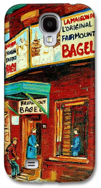 Montreal Bagel Factory Famous Brick Building On Fairmount Street Vintage Paintings Of Montreal  Galaxy S4 Case by Carole Spandau