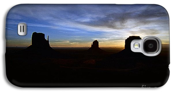 Monument Valley Desert Sunrise And Butte Silhouettes Accented Edges Digital Art Galaxy S4 Case by Shawn O'Brien