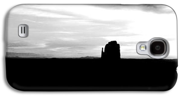 Monument Valley Desert Sunrise And Butte Silhouettes Panoramic Bw Conte Crayon Digital Art Galaxy S4 Case by Shawn O'Brien