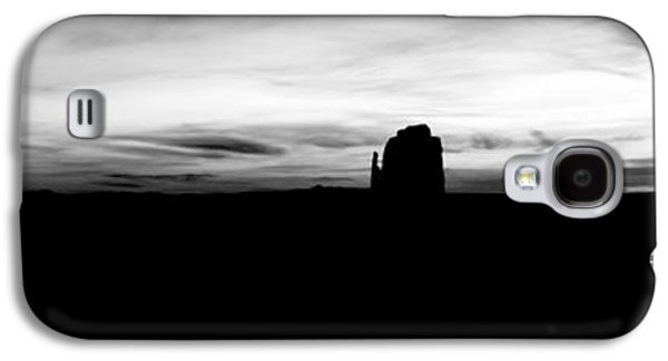 Monument Valley Morning Twilight And Butte Silhouettes Panoramic Bw Conte Crayon Digital Art Galaxy S4 Case by Shawn O'Brien