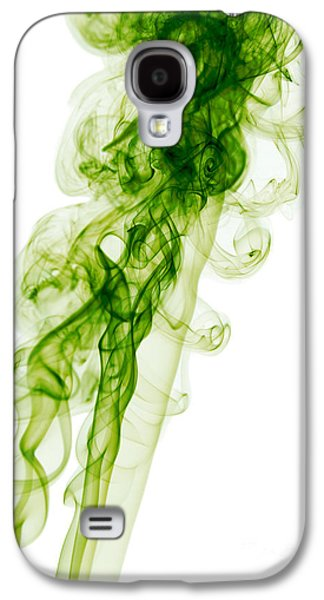 Mood Colored Abstract Vertical Green Smoke Wall Art 01 Galaxy S4 Case by Alexandra K