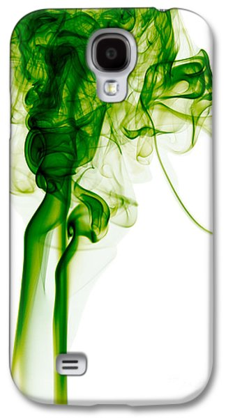 Abstract Vertical Green Mood Colored Smoke Wall Art 03 Galaxy S4 Case by Alexandra K