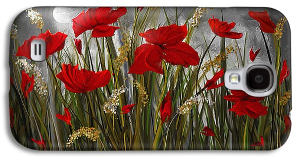 Moonlight Poppies - Poppies At Night Painting Galaxy S4 Case