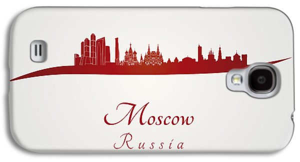 Moscow Skyline In Red Galaxy S4 Case by Pablo Romero