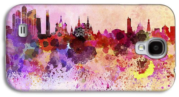Moscow Skyline In Watercolor Background Galaxy S4 Case