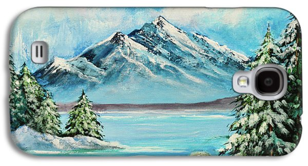 Mountain Lake In Winter Original Painting Forsale Galaxy S4 Case by Bob and Nadine Johnston