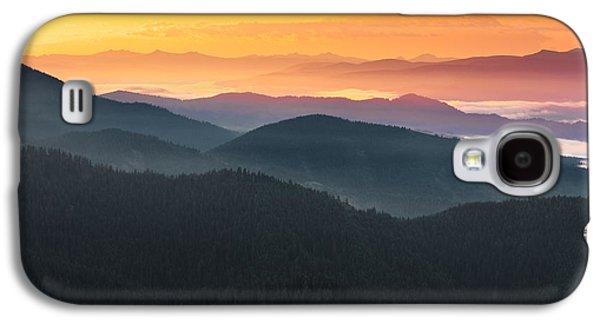 Mountain Layers Sunrise Galaxy S4 Case by Leland D Howard