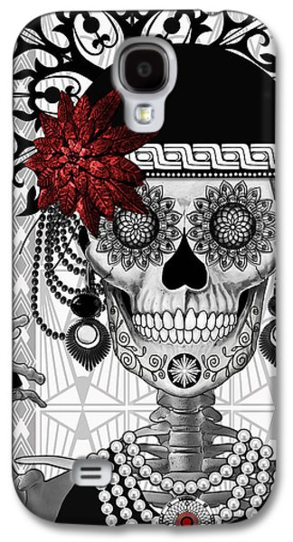 Mrs. Gloria Vanderbone - Day Of The Dead 1920's Flapper Girl Sugar Skull - Copyrighted Galaxy S4 Case by Christopher Beikmann