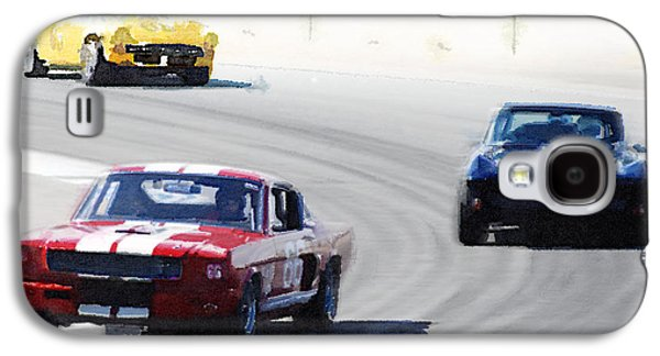 Mustang And Corvette Racing Watercolor Galaxy S4 Case by Naxart Studio