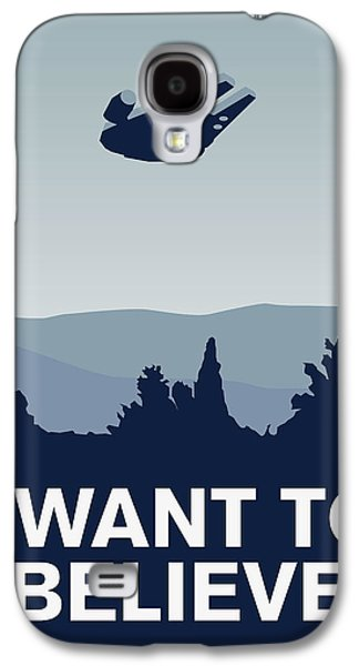 My I Want To Believe Minimal Poster-millennium Falcon Galaxy S4 Case by Chungkong Art