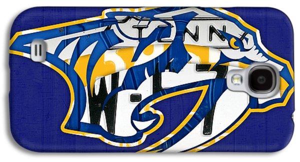 Nashville Predators Hockey Team Retro Logo Vintage Recycled Tennessee License Plate Art Galaxy S4 Case by Design Turnpike