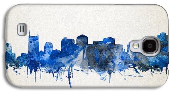 Nashville Skyline Galaxy S4 Case - Nashville Skyline Watercolor 11 by Bekim Art