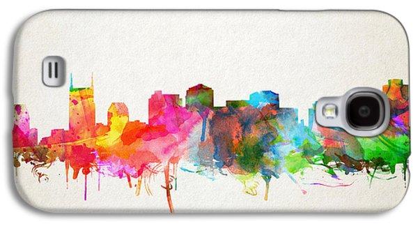 Nashville Skyline Galaxy S4 Case - Nashville Skyline Watercolor 9 by Bekim Art