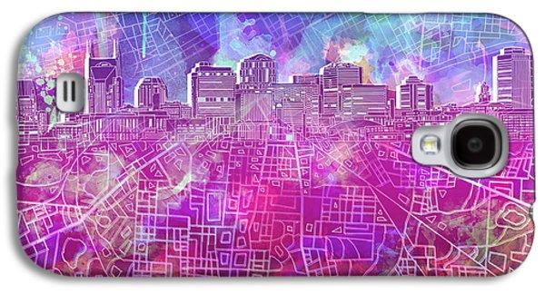 Nashville Skyline Watercolor Galaxy S4 Case