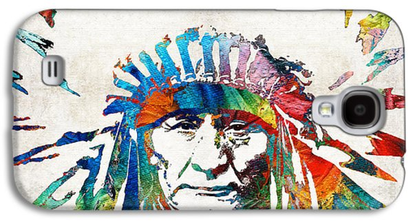Bull Galaxy S4 Case - Native American Art - Chief - By Sharon Cummings by Sharon Cummings