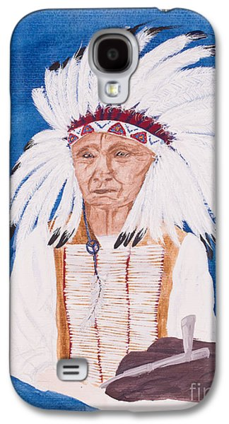 Native American Indian Painting By Carolyn Bennett Galaxy S4 Case by Simon Bratt Photography LRPS