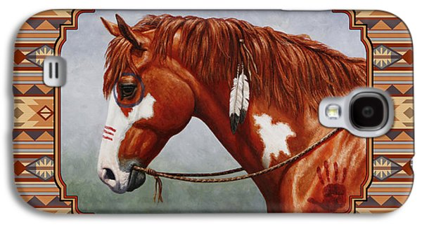 Native American War Horse Southwestern Pillow Galaxy S4 Case by Crista Forest